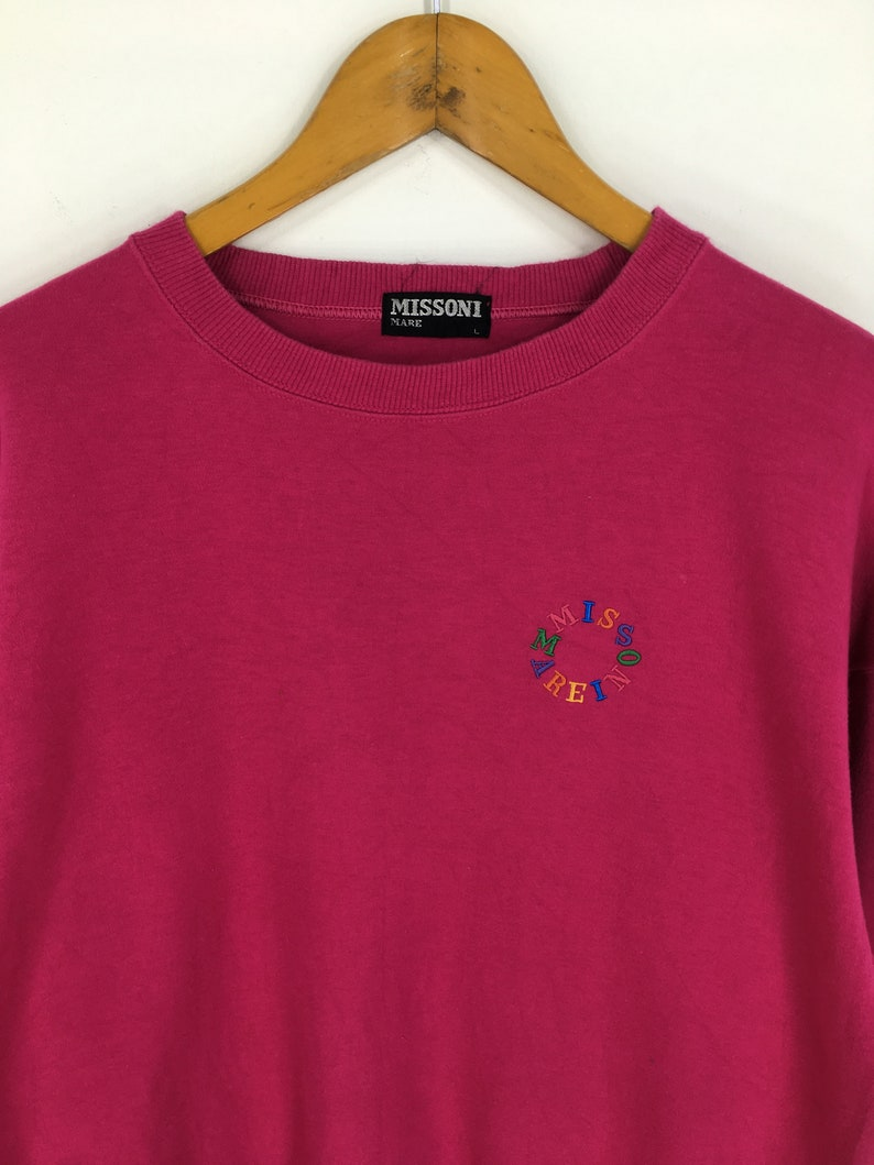 Vintage 90/'s Missoni Sports Sweaters Pink Women Large Missoni Mare Italia Neon Spell Out Sweatshirt Sportswear Missoni Jumper Size L