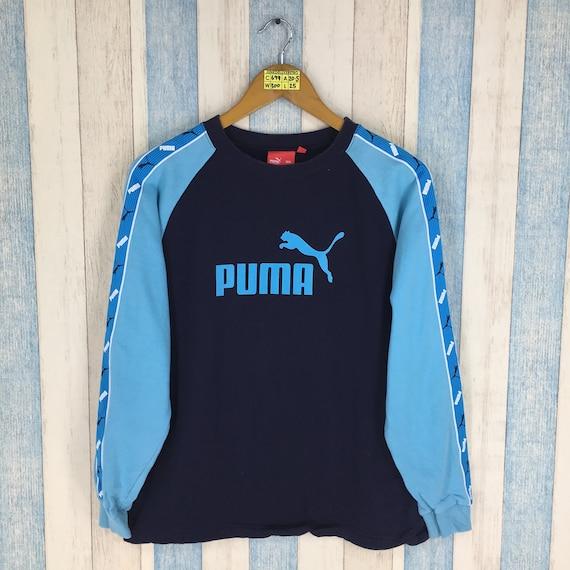 614eee4d979 Vintage PUMA Big Logo Crewneck Jumper Blue Sweatshirt Sweater | Etsy