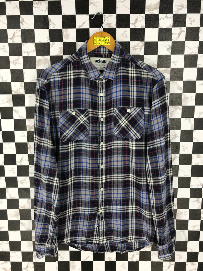 Vintage 90/'s Flannel Multicolor Unisex Small Vintage Plaid Checkered Grunge Rustic Flannel Buttondown Hipster Minimalist Shirt Size S
