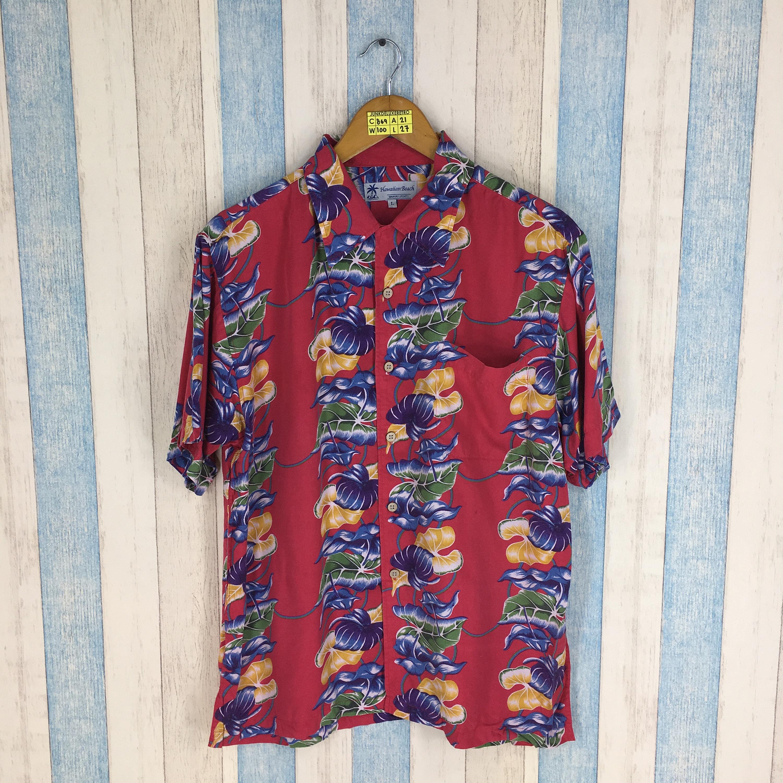 8a0a30b5 Vintage HAWAIIAN 80's Rayon Shirt Large Floral Rockabilly | Etsy