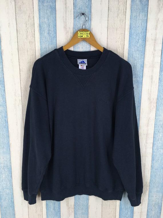 ADIDAS Pullover große Vintage 90er Jahre Adidas drei Streifen Sportswear Crewneck Adidas Trefoil Sport Jumper schwarz Adidas Sweatshirt Größe L