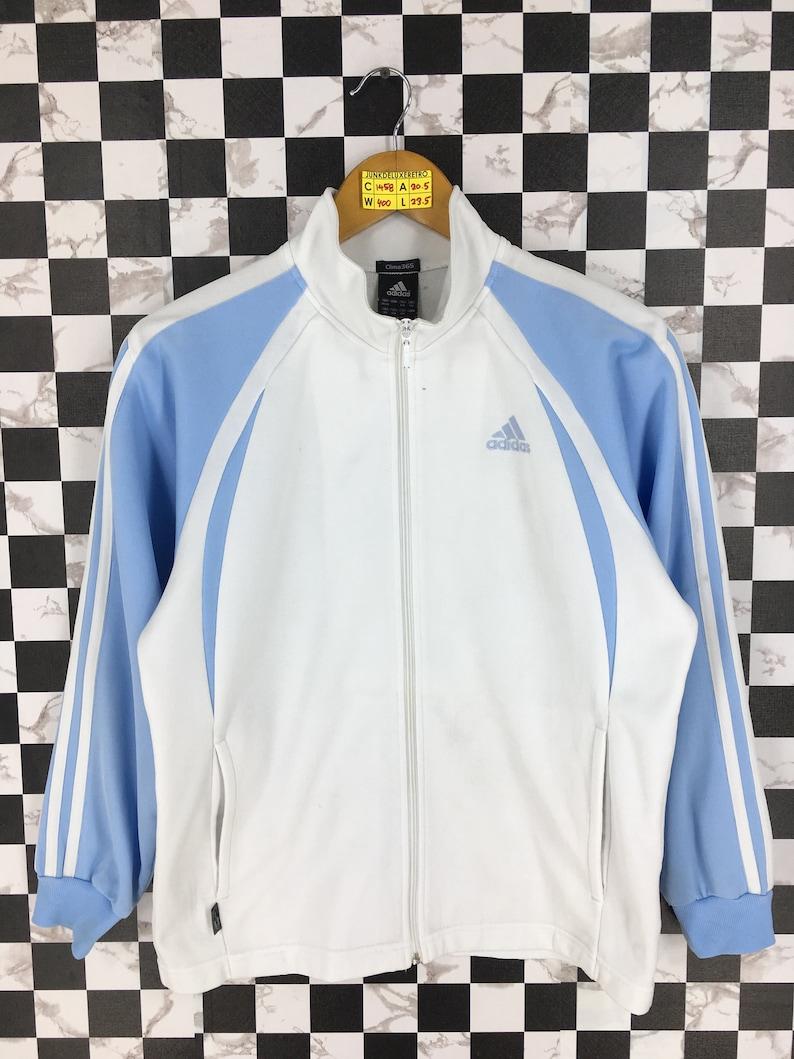 1ff4e3ae3662a ADIDAS EQUIPMENT Training Jacket Blue/White Medium Vintage 1990s Adidas  Three Stripes Track Top Sportswear Sport Windbreaker Jacket Size M