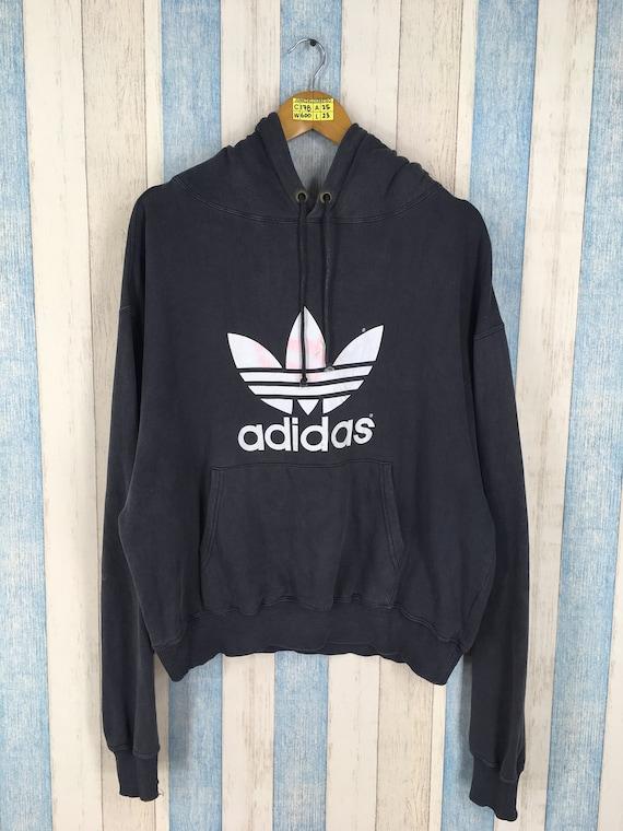 ADIDAS Trefoil Hoodie Crop Sweater Large Hip Hop Vintage 90's Adidas Trefoil Big Logo Sportswear Adidas Pullover Hoodie Sweatshirt Size L