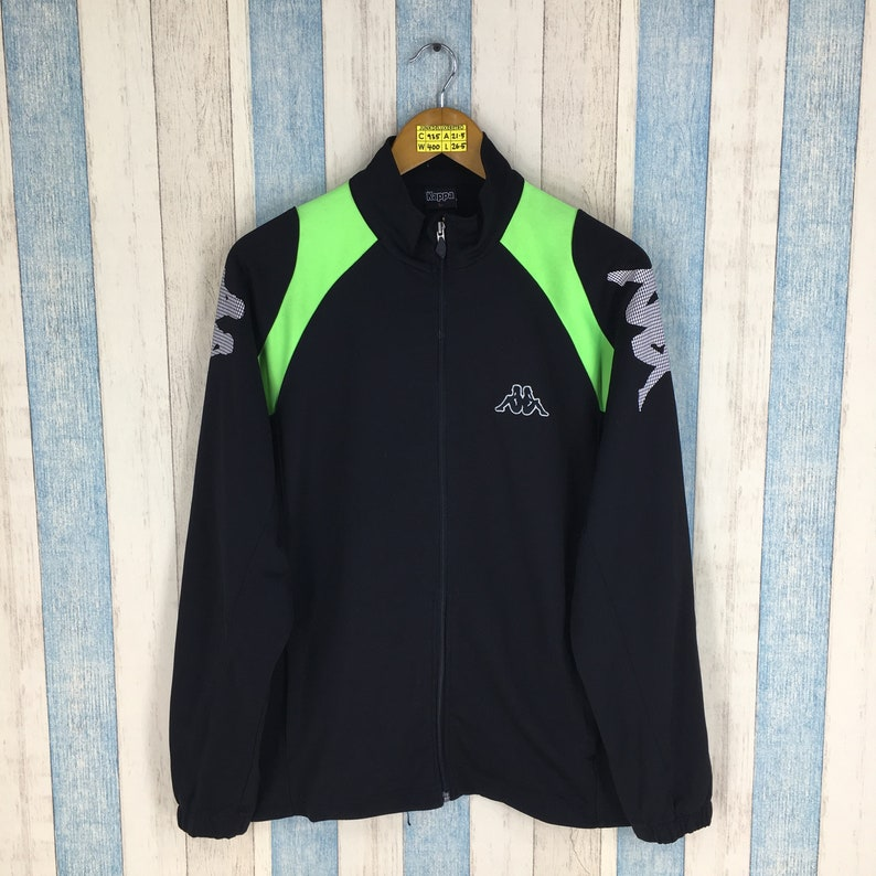 KAPPA WINDBREAKER Jacket Large Vintage 90/'s Kappa Italia Track Top Sportswear Kappa Trainer Sport Windrunner Black Jacket Size L