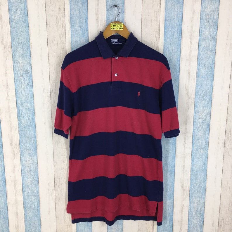 dd4fdffe8 POLO By Ralph Lauren Polo Stripes Shirt Unisex Large Blue Red