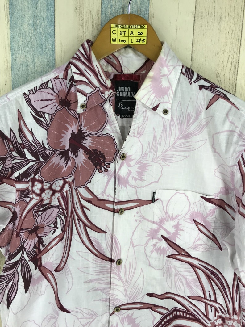 JUNKO SHIMADA Hawaiian Cotton Shirt Men Large Vintage 80/'s Flower Classic Surf Hawaii Tiki Honolulu Hawaiian Floral Button Up Shirt Size L