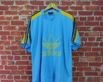 Vintage 1980's ADIDAS TREFOIL Jersey Large Vintage Adidas Trefoil Big Logo Blue Streetwear Sportswear Jersey Football T shirt Size L