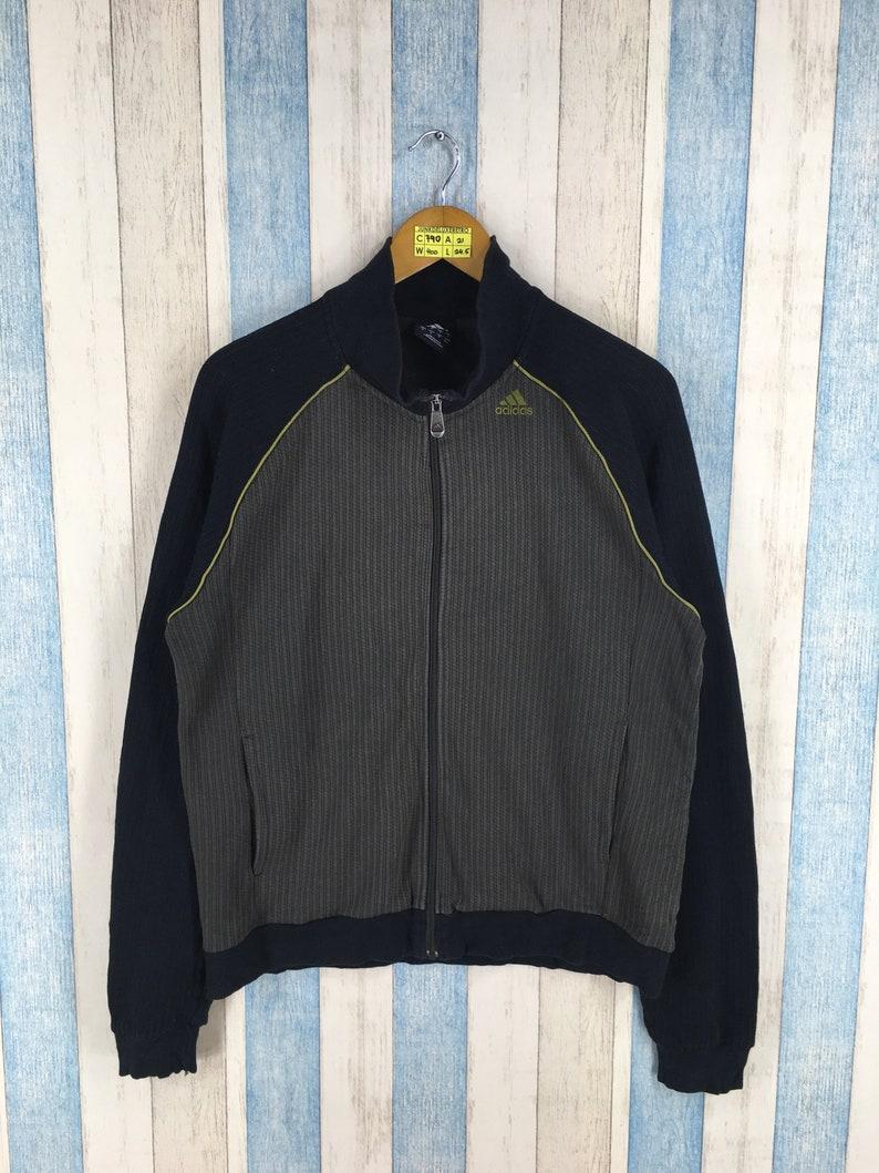 308a52913b694 ADIDAS Zipper Sweater Small Vintage Adidas Three Stripes Equipment Cotton  Jacket Adidas Sportswear Equipment Sweatshirt Size S