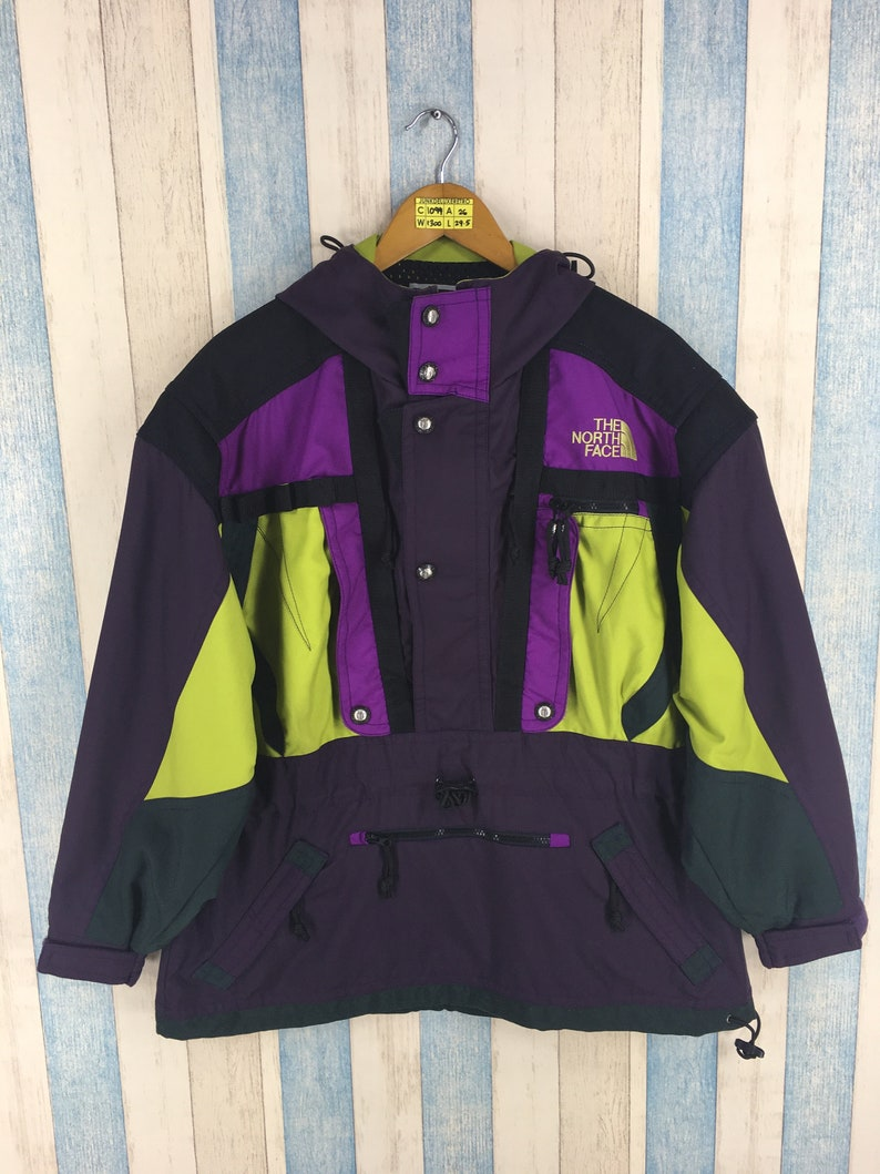 2077d4158 Vintage The NORTH FACE Jacket Mens Medium North Face Ski Wear Multicolour  Jacket Hoodie North Face 90s Skiing Hooded Jacket Bomber Size M