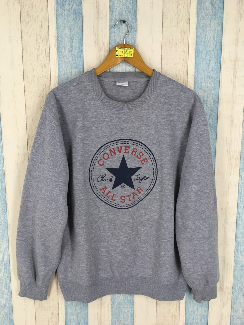 e0973be91a95b CONVERSE ALL STAR Homewear Sweatshirt Large Gray Vintage Chuck Taylor Usa  90's Converse Crewneck Jumper Streetwear Sweater Pullover Size L