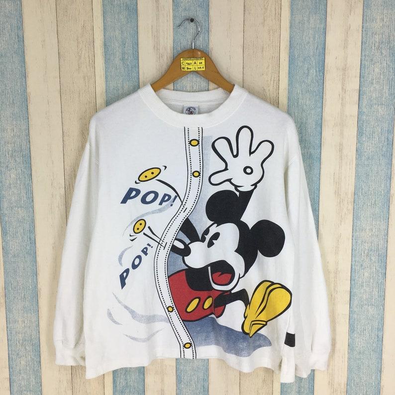 5d7fdee36 MICKEY MOUSE Sweatshirt White Medium Vintage 90's | Etsy