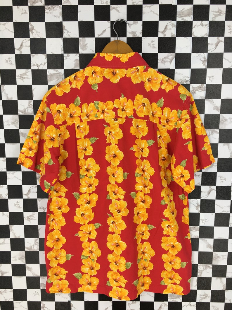 74c0bf3b HAWAIIAN Floral Shirt Small Vintage Aloha Tropical Tiki   Etsy