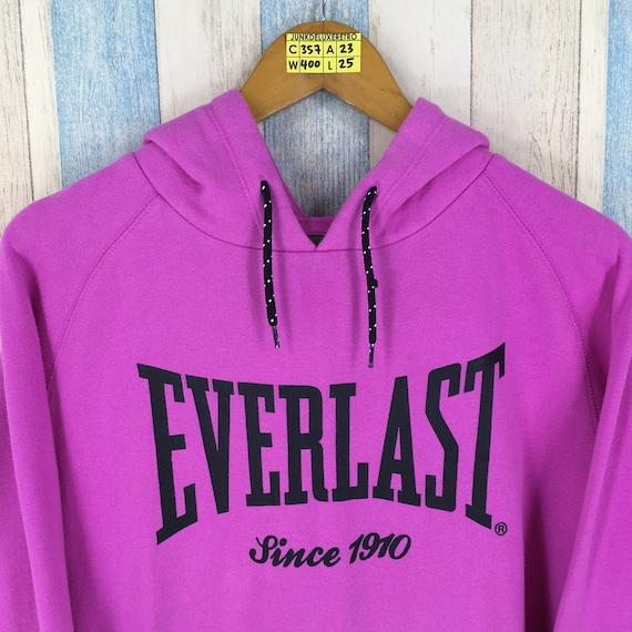 EVERLAST Hoodie Sweatshirt Pink Large Vintage 90s Streetwear Ladies Pullover Jumper Sweater Ladies Everlast Hoodie Size L