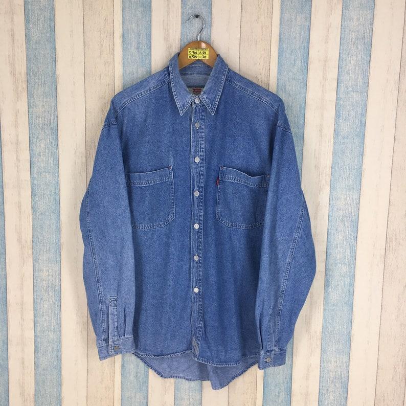 69cea8d72e0 LEVIS Strauss Denim Shirt Men Women Medium Vintage 90 s