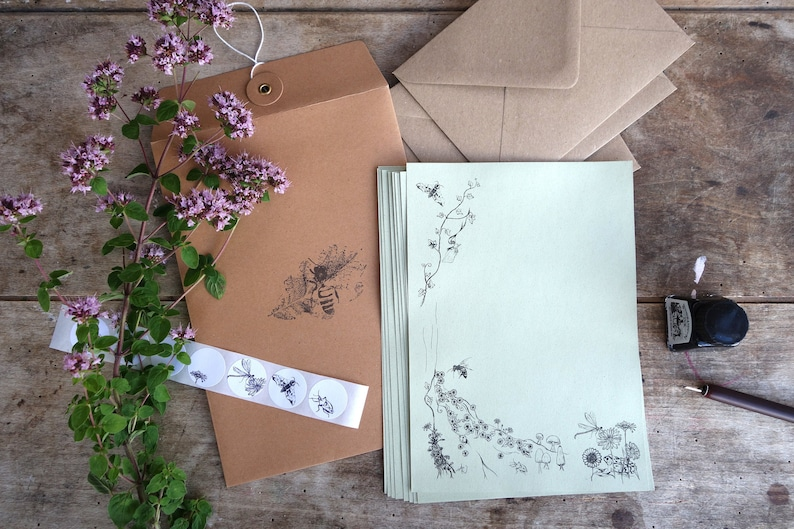 Woodland writing set. Eco friendly stationery set made with image 0