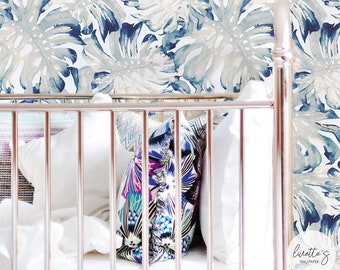 Tropical Palm Leaves Wallpaper in Blue / Nursery Traditional or Removable Wallpaper L050