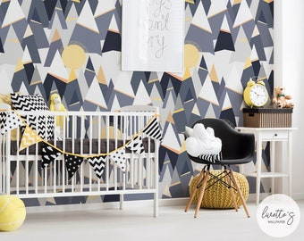 Mountains Nursery Removable Wallpaper / Traditional or Self adhesive wallpaper A011