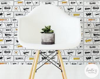 Comic Book Wallpaper, Boys Room Removable Wallpaper / Traditional or Self adhesive wallpaper L814
