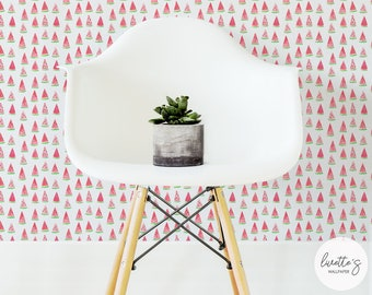 Watercolor Watermelon Removable Wallpaper / Cute Tropical Traditional or Self adhesive Wallpaper L905