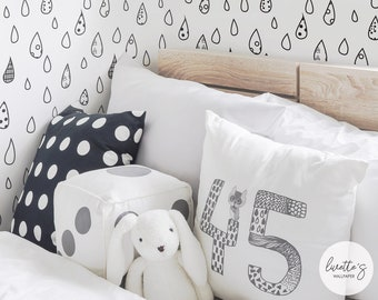 Raindrop Pattern Wallpaper / Traditional or Removable Wallpaper L049