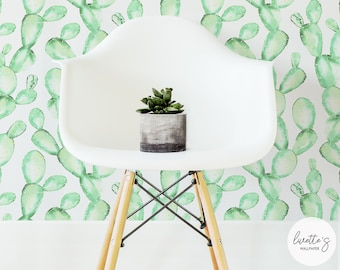 Mint Cactus Removable Wallpaper /Traditional or Self adhesive Wallpaper L056-2