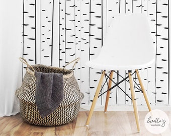 Birch Tree Wallpaper, Tree Pattern Wall Mural / Traditional or Removable wallpaper L860