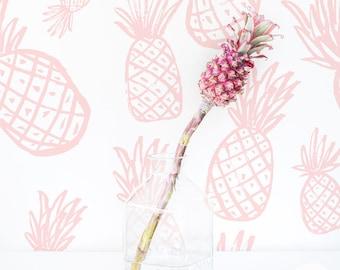 Tropical pineapple Wallpaper / Pastel Self Adhesive Wallpaper / Traditional or removable Wallpaper for Girls Nursery L050