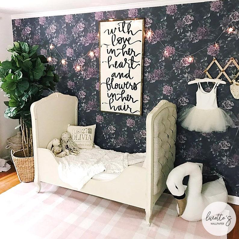 Nursery Dark Floral Wallpaper Girls Room Peony Watercolor image 0