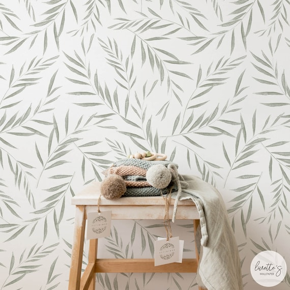 Fern Leaves Nursery Removable Wallpaper Minimal Design Baby Room Wallpaper Self Adhesive And Traditional Wallcovering
