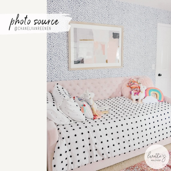 Grey Dalmatian Removable Wallpaper, Girls Bedroom Animal Print, Nursery  Wall Decal, Baby Girl Room Decor