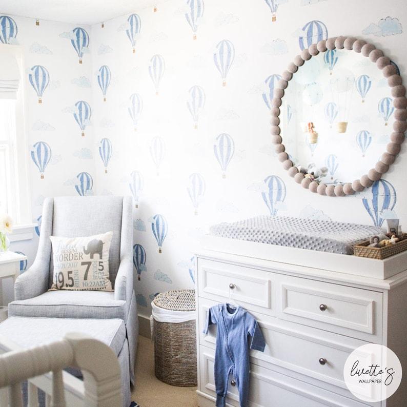 2fe1ef373a8e3 Watercolor Air Balloon Removable Wallpaper, Baby Boys Nursery Room,  Traditional or Self adhesive