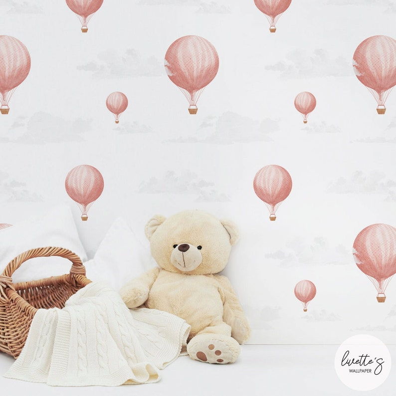 ad6d29159b39e Pink Vintage Hot Air Balloon Removable Wallpaper, Girls Nursery Room,  Traditional or Self adhesive