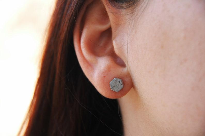 Tiny HEXAGON earrings CONCRETE . Little Hexagonal Geometric image 0