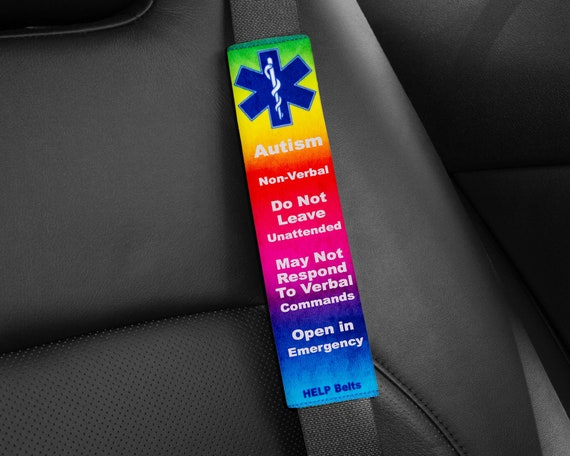 Autism, Non Verbal Help Belts® ~ Medical Alert Seat Belt Covers by Etsy