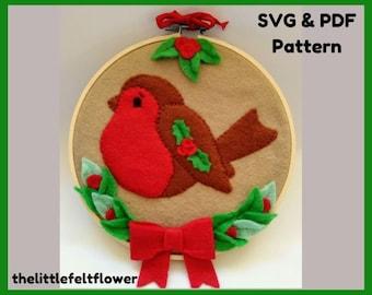 Felt Robin Pattern, Robin Embroidery Hoop, Felt Robin PDF pattern, Robin Felt SVG Pattern Cricut, Felt pattern, Felt PDF pattern, Robin