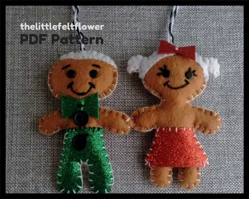 Gingerbread Man Felt Christmas Ornament Pattern-Gingerbread image 0