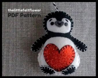 Penguin Felt Christmas Ornament Pattern-Penguin Felt Pattern-Penguin Felt Christmas Decoration Pattern