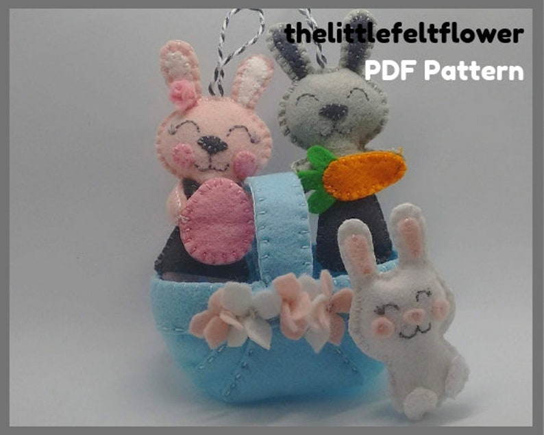 Felt Easter Basket Pattern  Felt Bunny Patterns  Easter image 0