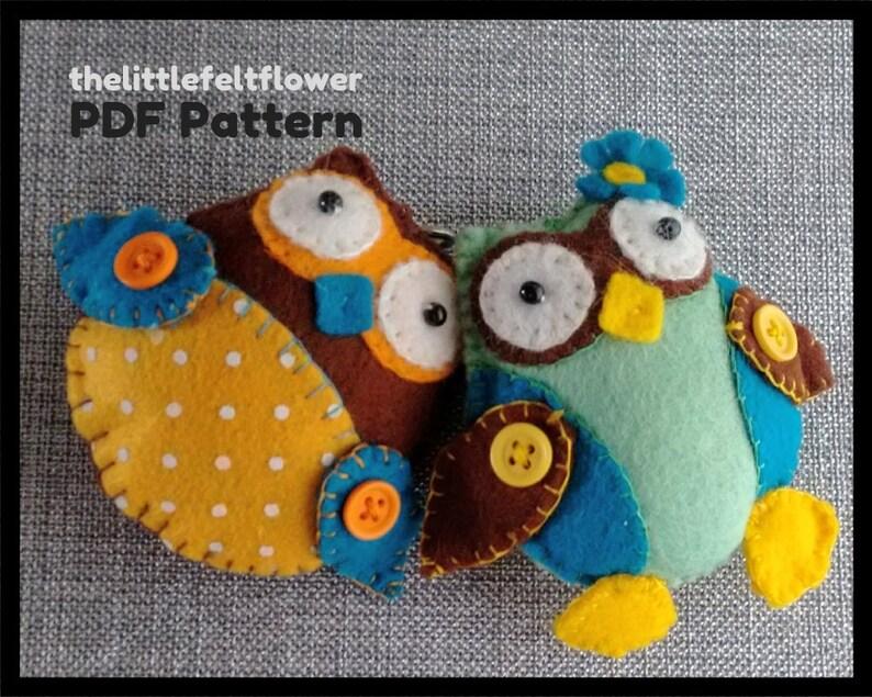 Felt Pattern-Felt Owls-Owl sewing pattern-Decor-Felt PDF image 0