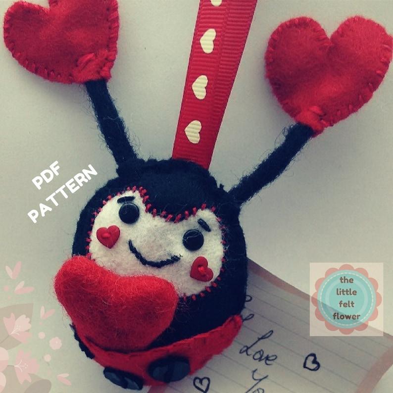 Felt Lady Bird Pattern Valentine-Love Bug Felt Pattern-Felt image 0