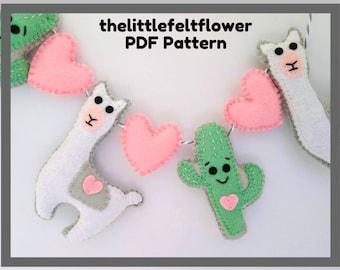 Llama felt Pattern, Llama Pattern Garland, Felt PDF Pattern,Llama sewing pattern, Felt valentine pattern,Felt Valentine garland,