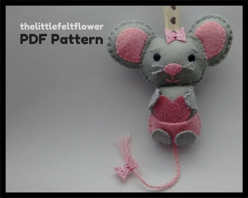 Felt Pattern Felt-Mouse-Sewing Pattern Tutorial-Felt PDF image 0