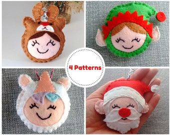 Felt Christmas Ornament Pattern, Felt Christmas Decoration Pattern, Felt Ornament PDF, Pattern Sewing, Sewing Pattern PDF,Felt Pattern PDF,