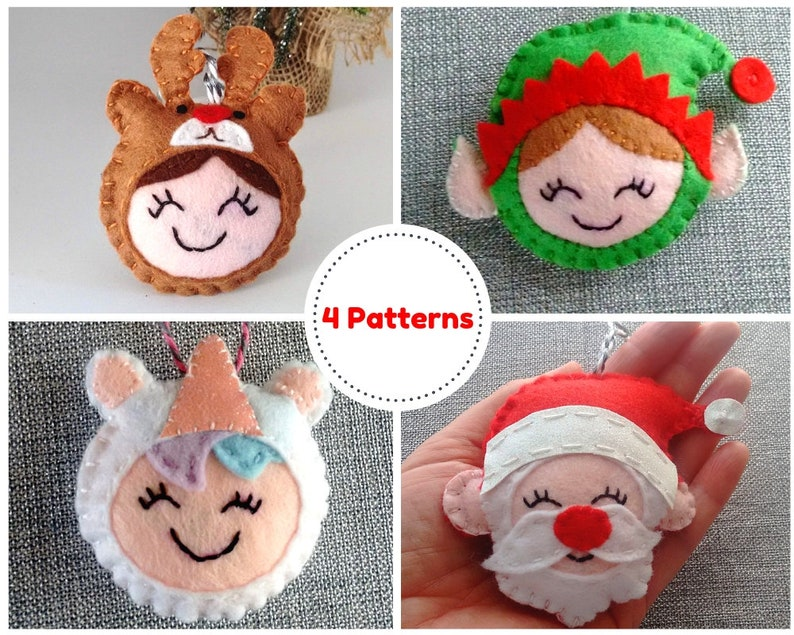 Felt Christmas Ornament Pattern Felt Christmas Decoration image 0