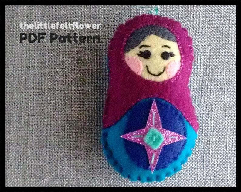 Russian Doll Pattern-Babushka Felt Pattern-Felt Christmas image 0