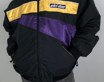 Vintage 80s Ski-Doo Snowmobile Jacket Purple Black Yellow Mens Large 8dc40d2df154