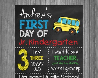 First Day of School Sign | First Day of School Chalkboard Photo Prop | Personalized Back to School Sign