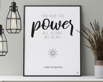 You Had the Power All Along Printable Wall Art, Inspirational Quote, Black and White, Witch, Art Print, Poster, Digital Art, Typography