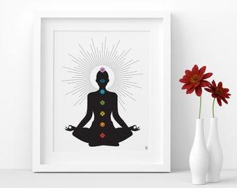 Chakras, Printable Wall Art, Witch, Black and White, Art Print, Poster, Meditation, kundalini, Digital Art