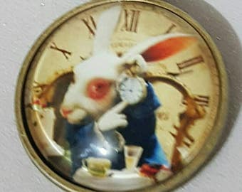 Antique rabbit, 34cm approx,Alice's adventures in wonderland inspired white rabbit cabachon,brass cabachon,birthday,mothers day,gift